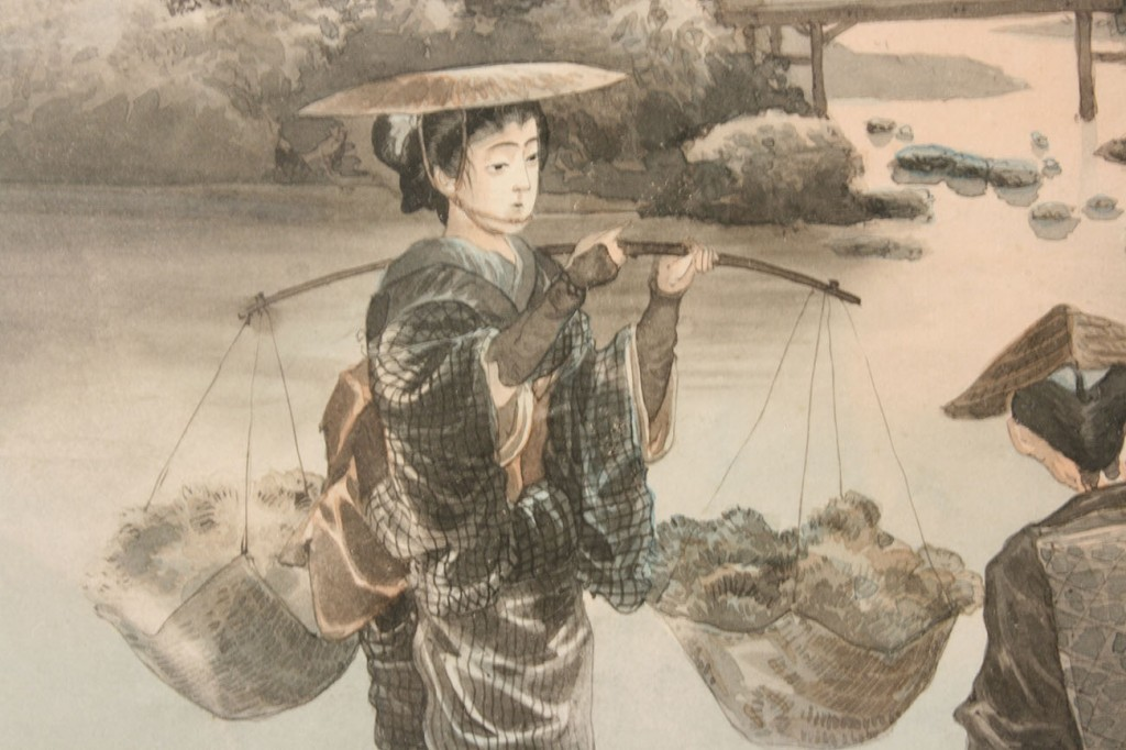 Lot 287: Pair Japanese watercolor landscapes, signed
