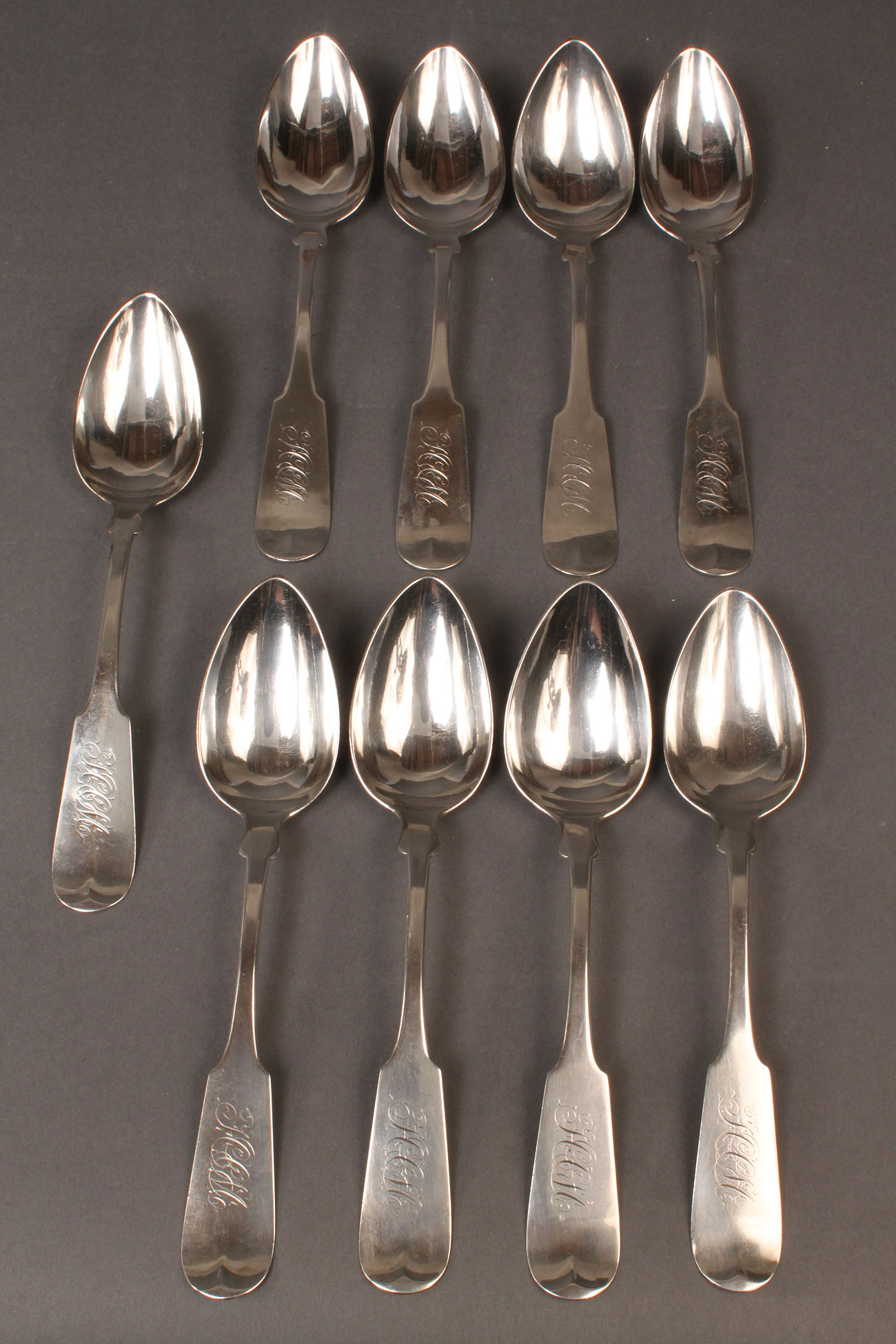 288: Lot of 9 Coin Silver Spoons, Albert Coles