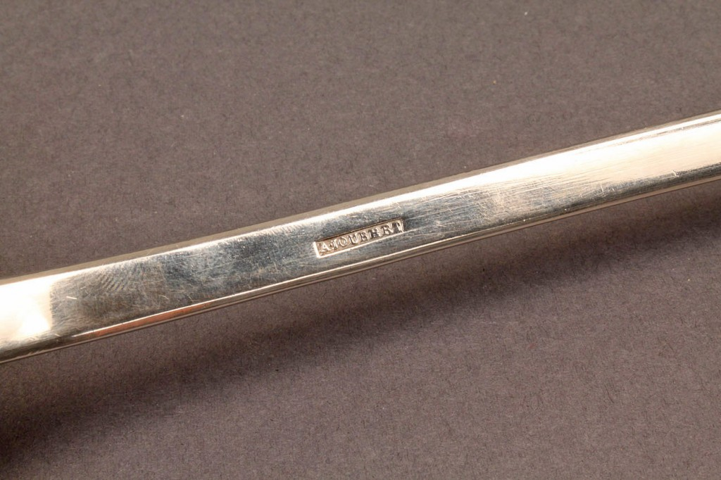 Lot 290: Coin silver soup or punch Ladle, A. Joubert