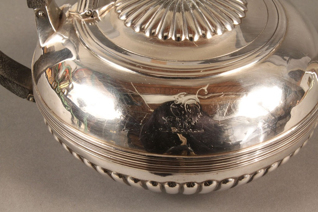 Lot 296: George III Sterling Teapot, Rooster Crest