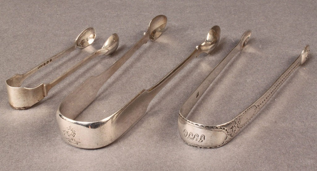 Lot 298: 3 English and Irish Silver Sugar Tongs