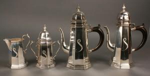 Lot 301: Baroque Style Silver Tea Service, 4 pcs.