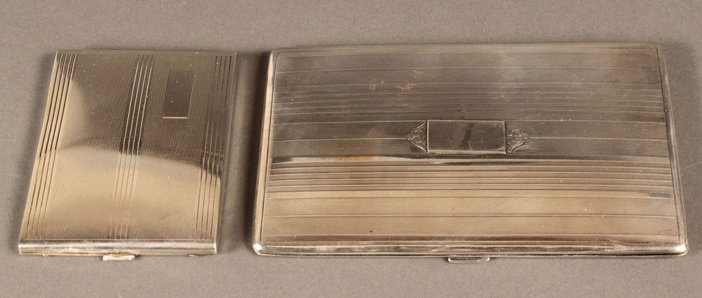 Lot 309: Lot of 2 Sterling Cigarette Cases, English and Ame