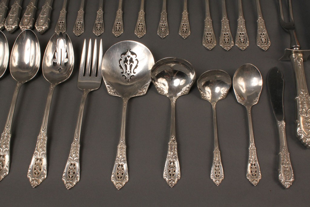 Lot 310: Wallace Rose Point Sterling Flatware, 28 pcs.