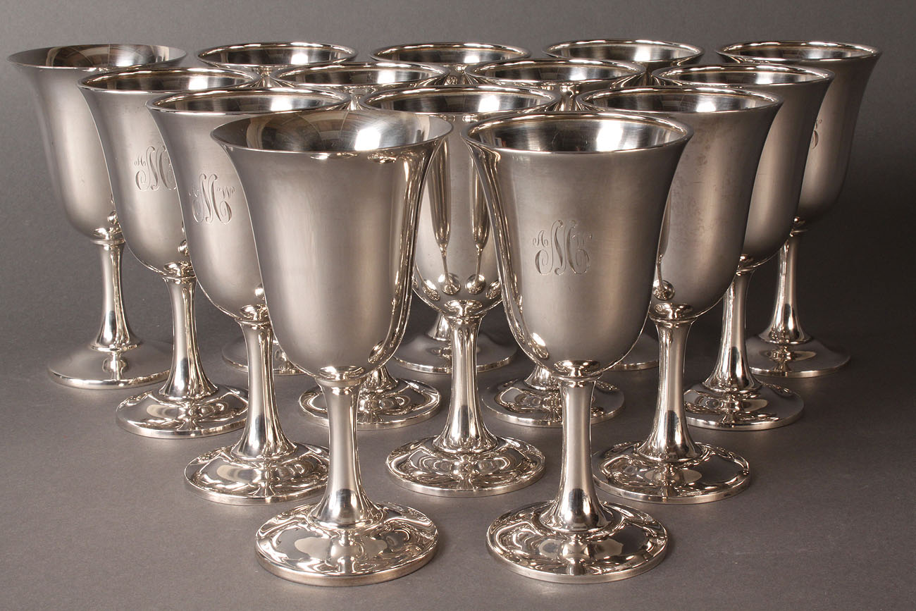 315: Wallace sterling silver goblets, set of 12 plus 2