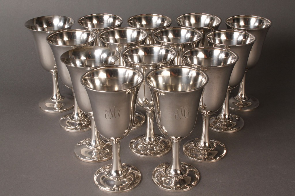 Lot 315: Wallace sterling silver goblets, set of 12 plus 2