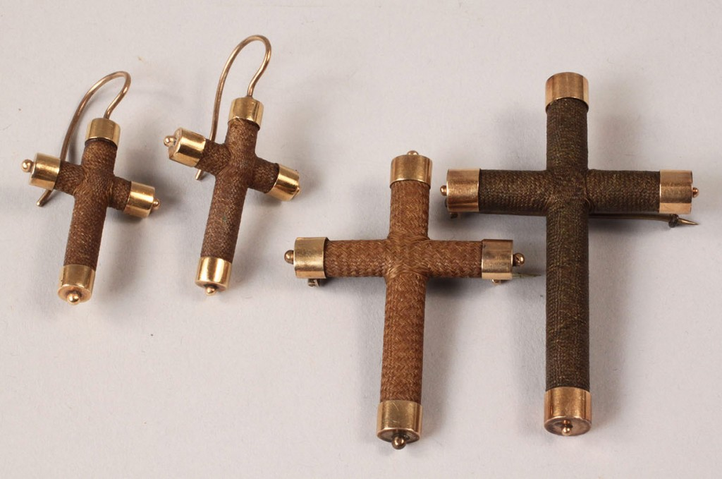 Lot 316: Victorian cruciform hair jewelry