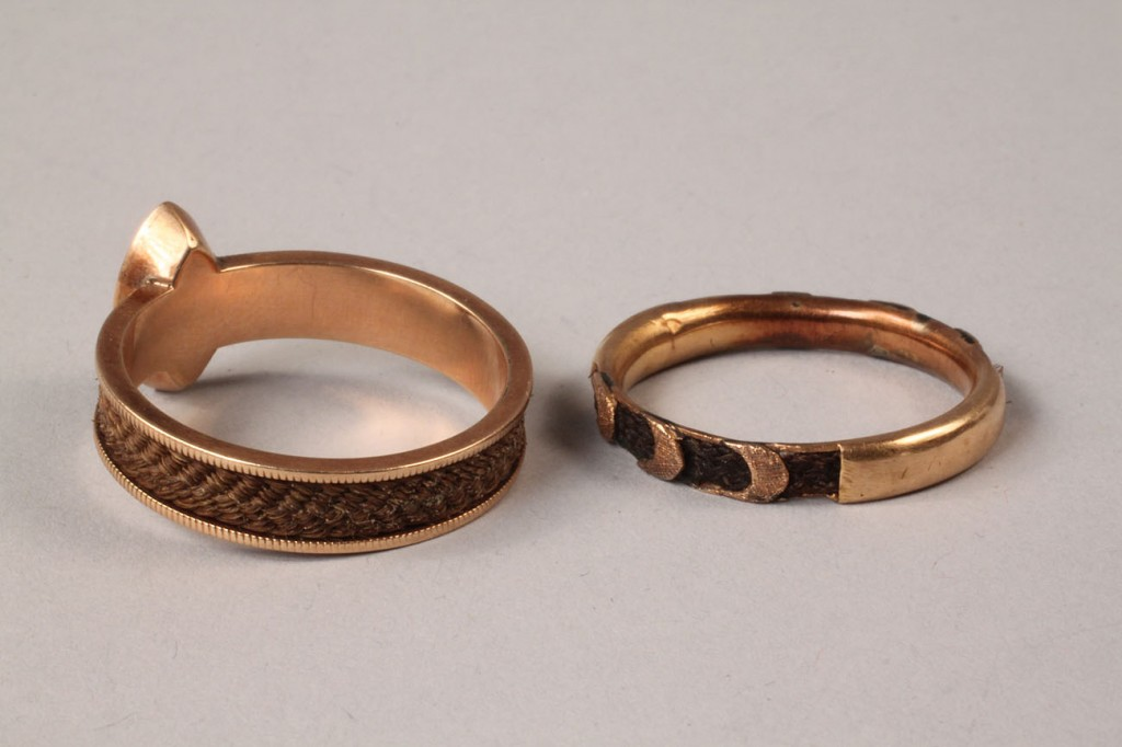 Lot 321: Two Victorian Hair Work mourning rings