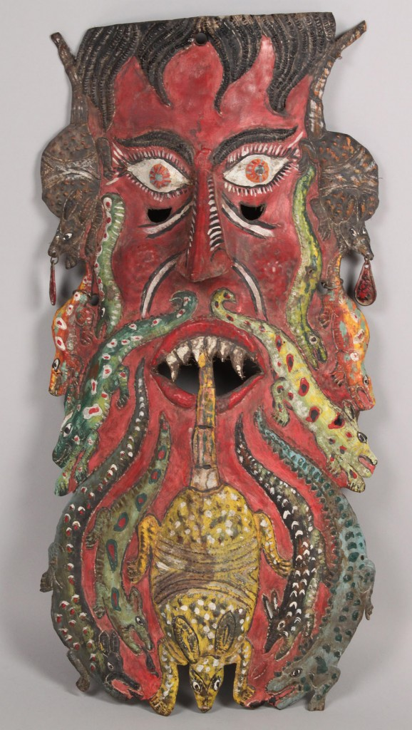 Lot 332: Large Mexican Folk Art Mask, Animal Form