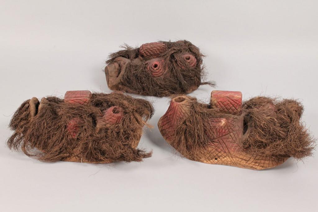 Lot 335: 3 Mexican Folk Art Masks with hemp hair