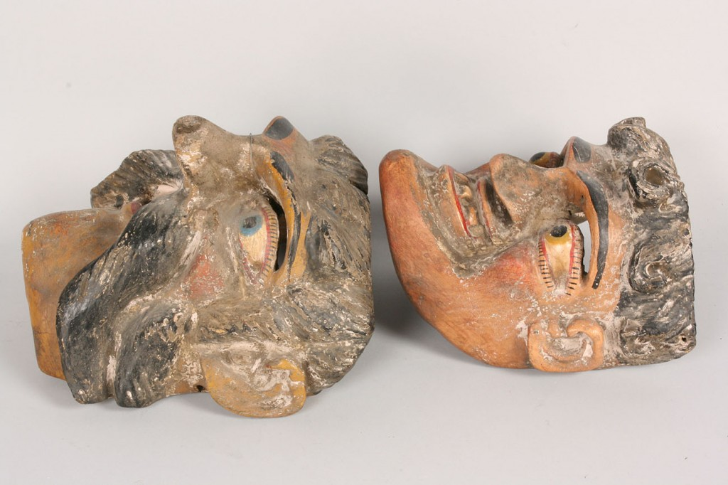 Lot 339: 2 Mexican Folk Art Viejo Masks, males with facial