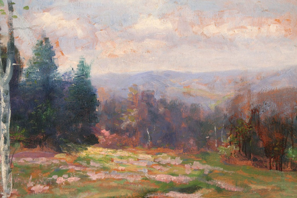 Lot 33: Tennessee Spring Landscape, early 20th c. oil on bo