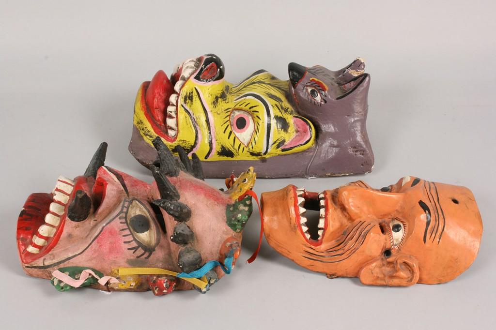 Lot 340: 3 Mexican Folk Art masks, Viejo, Animal, and Demon