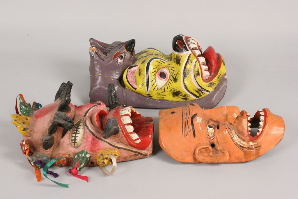 Lot 340: 3 Mexican Folk Art masks, Viejo, Animal, and Demon