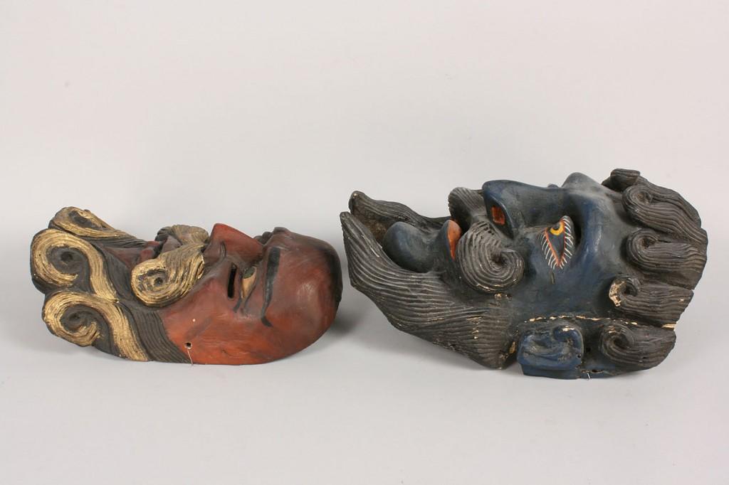 Lot 342: Pr Mexican Folk Art Moor masks, red and blue beard