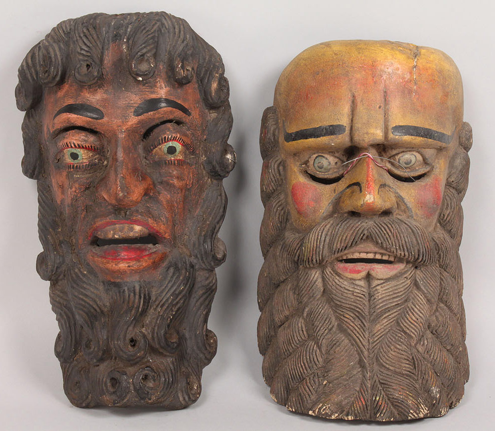 Lot 343: Pr Mexican Folk Art Moor masks, yellow and pink b