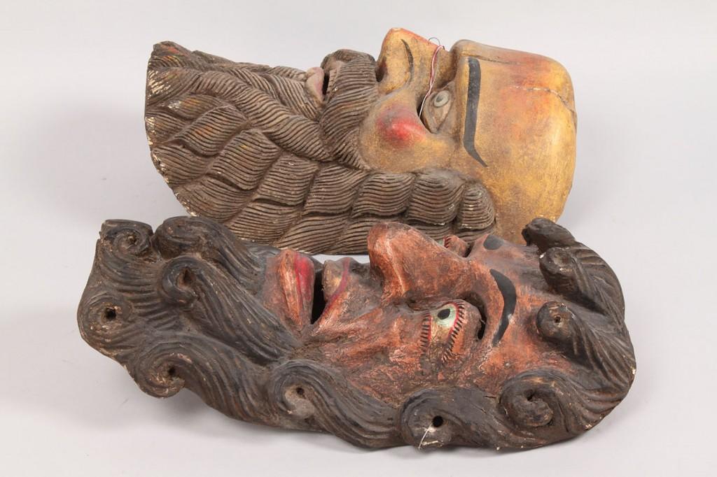 Lot 343: Pr Mexican Folk Art Moor masks, yellow and pink b