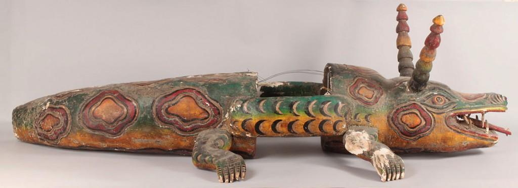 "Lot 344: Mexican Folk Art body ""Animal"" mask, Alligator for"