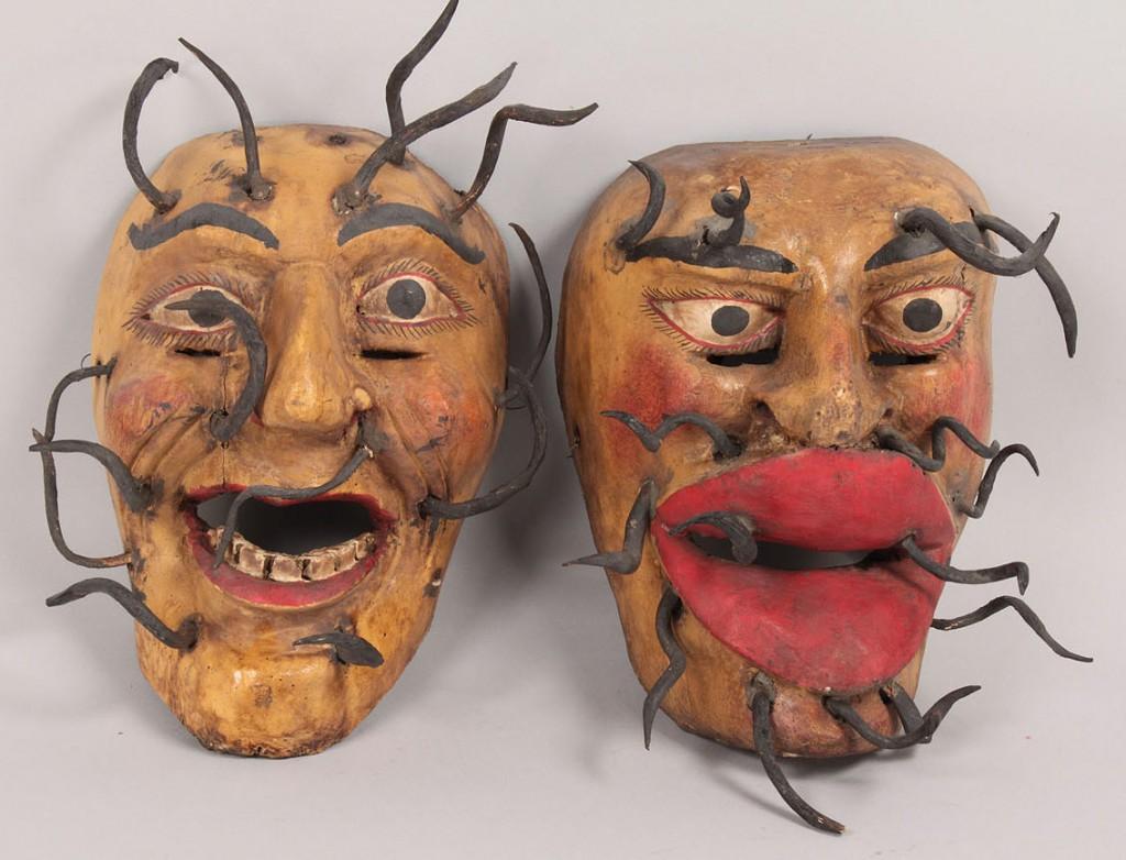 Lot 347: Pr Mexican Folk Art Golden Duo Dance masks