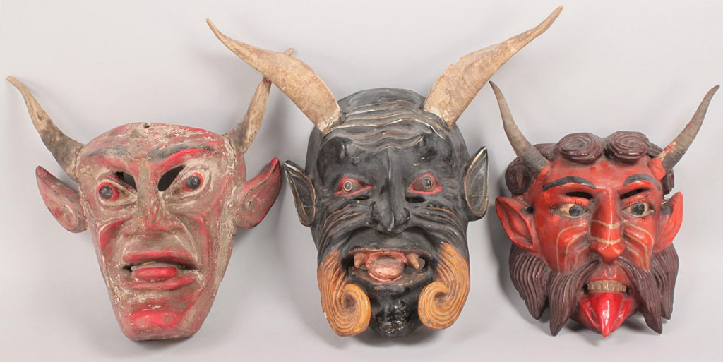 Lot 349: 3 Mexican Folk Art Diablo Dance Masks, Devil Forms