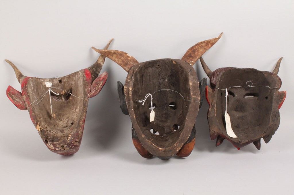 Lot 349: 3 Mexican Folk Art Diablo Dance Masks, Devil Forms