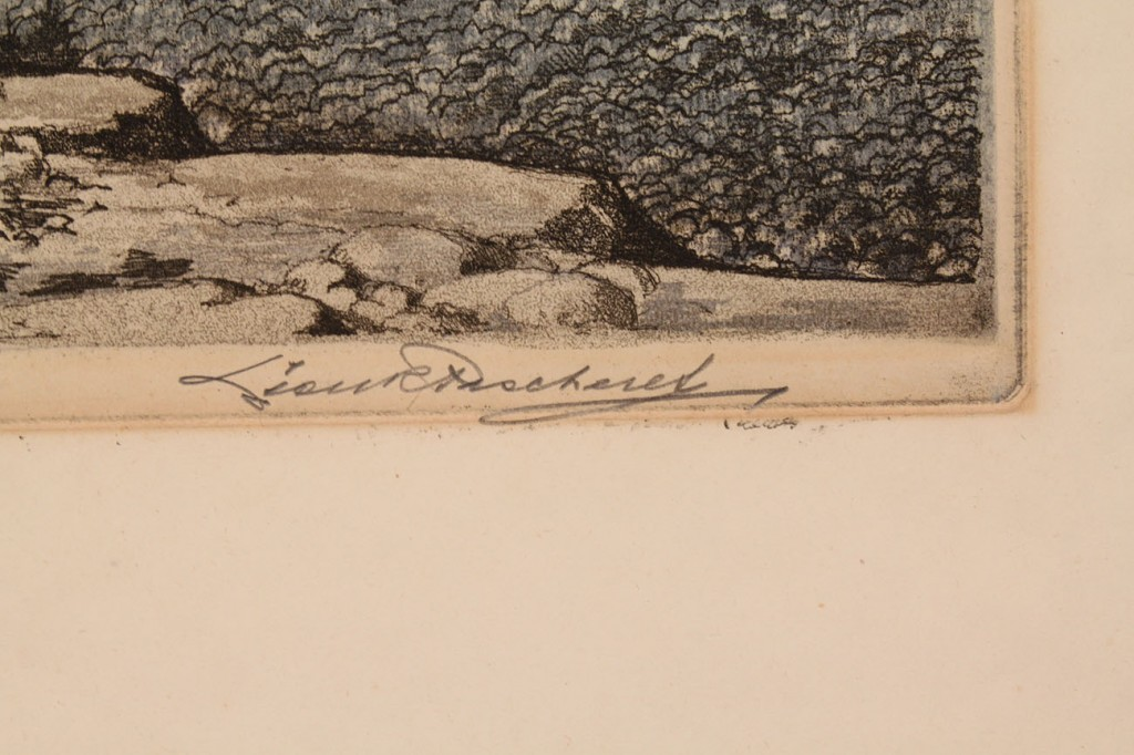 "Lot 34: Leon Pescheret etching, ""Skyline"""