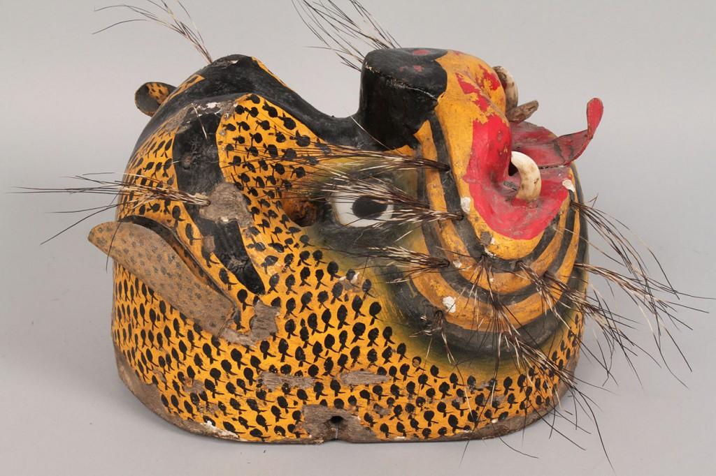 Lot 350: Mexican Folk Art Tecuan Dance Mask, Large