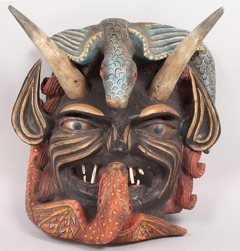 Lot 352: Large Mexican Folk Art Diablo Mask, Devil Form