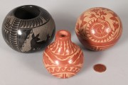 356: 3 SW Pottery pcs: Grace Medicine Flower & Red Star