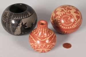 Lot 356: 3 SW Pottery pcs: Grace Medicine Flower & Red Star