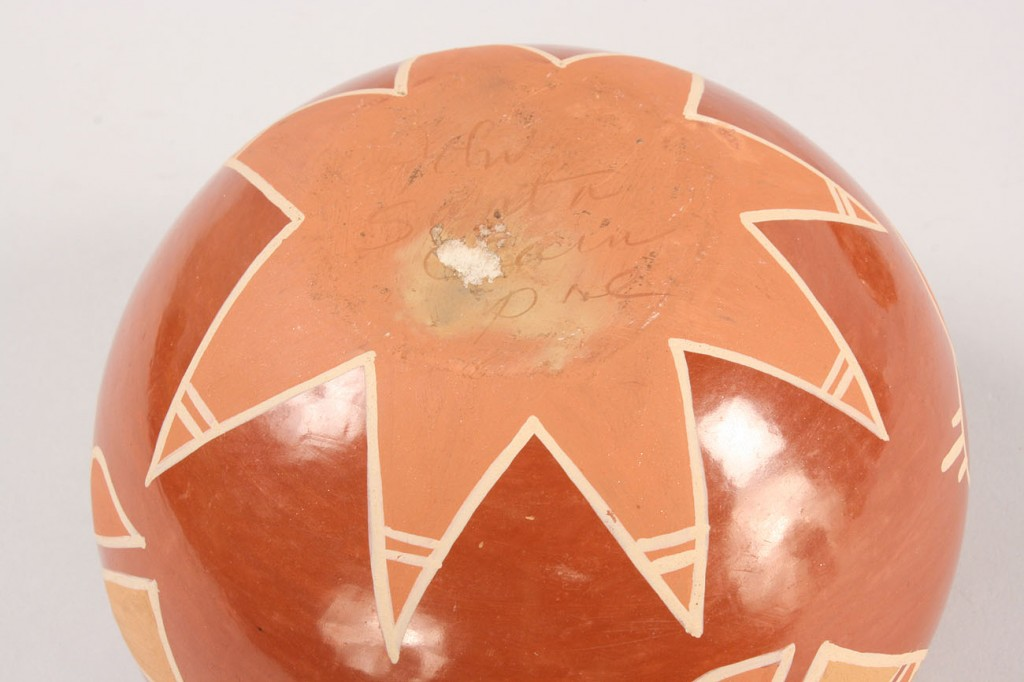 Lot 357: 2 Signed Redware Bowls: Albert & Josephine and San