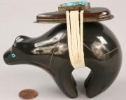 359: Black Bear pottery figural by Dora Tse Pe