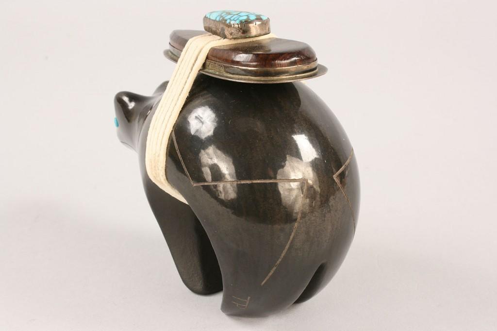 Lot 359: Black Bear pottery figural by Dora Tse Pe