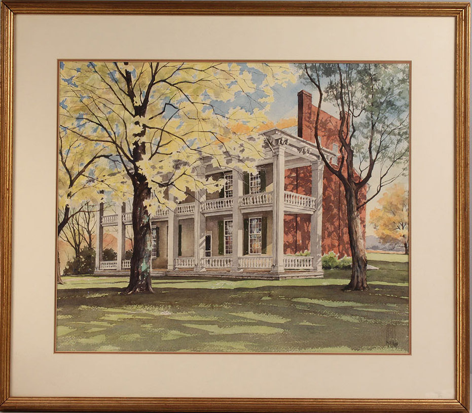Lot 35: Carnton Plantation watercolor by Ed Holland