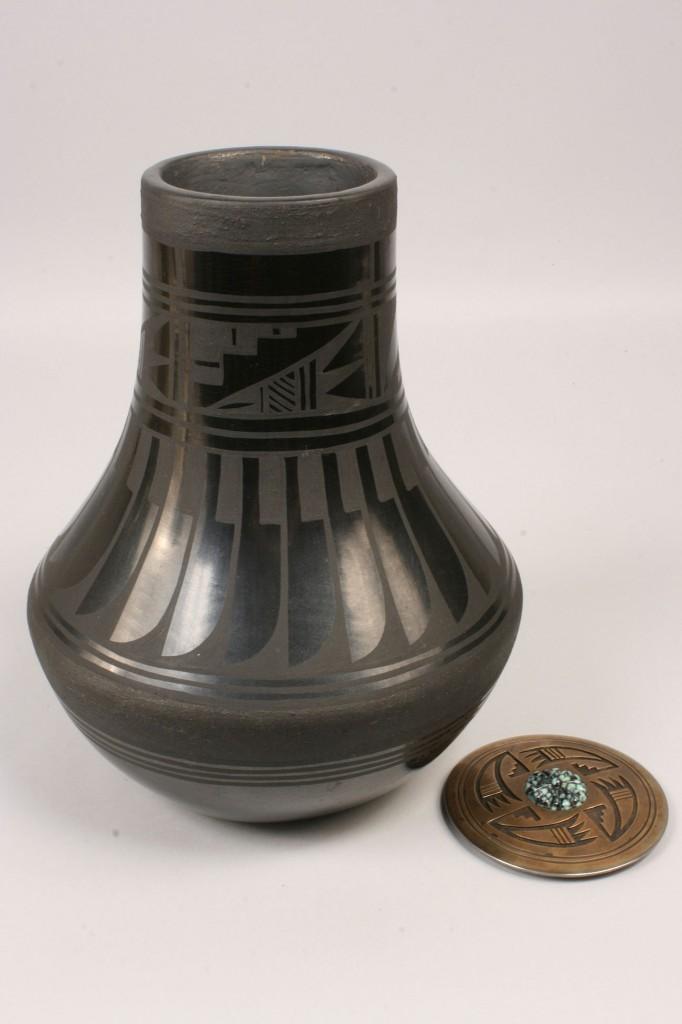Lot 363: Large San Ildefonso jar, Blue Corn, feather desig