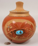 364: Red glazed & Turquoise Pot with lid by Tony Da