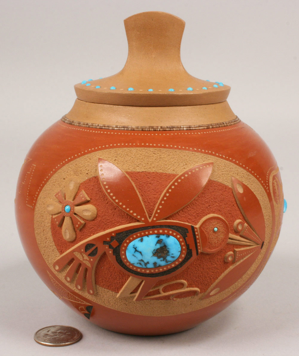 Lot 364: Red glazed & Turquoise Pot with lid by Tony Da