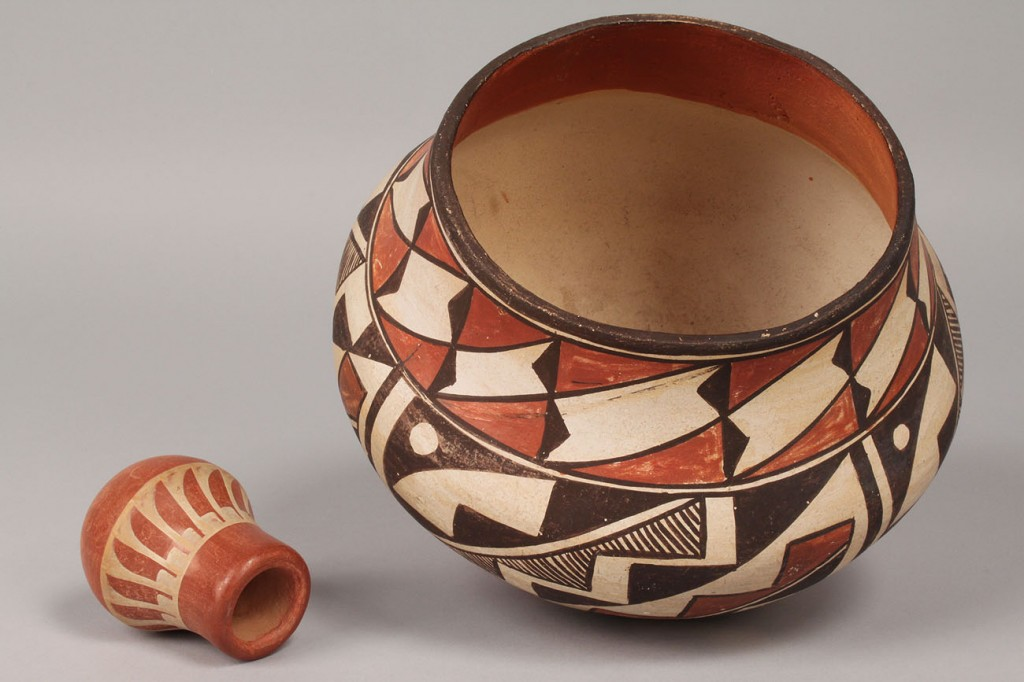 Lot 365: Acoma Pottery bowl and mini Pueblo vase