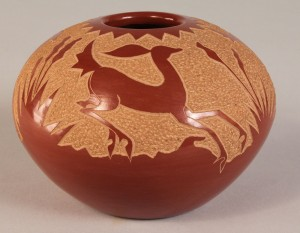Lot 368: Santa Clara redware pot by Golden Rod, prize winne