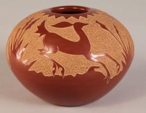 Lot 368: Santa Clara redware pot by Golden Rod, prize winne