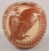 369: Santa Clara redware eagle pot by Wallace Youvella