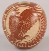 369: Santa Clara redware eagle pot by Wallace Youvella