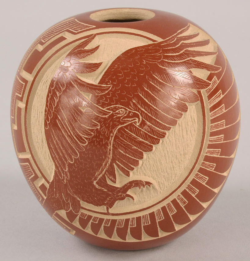 Lot 369: Santa Clara redware eagle pot by Wallace Youvella