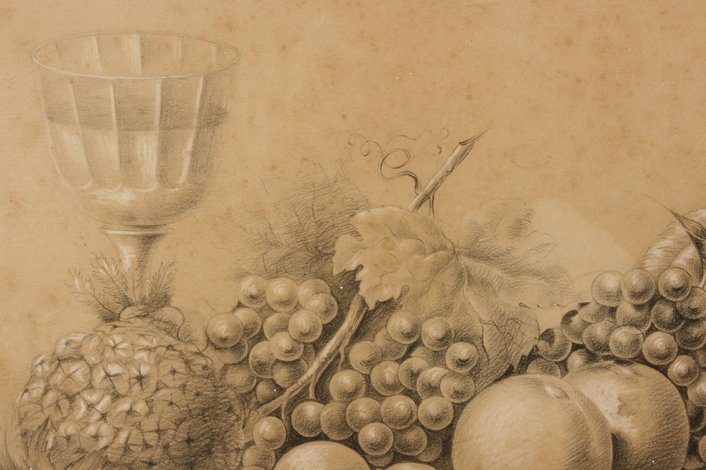 Lot 36: American School, 19th c. still life drawing
