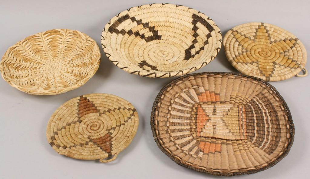 Lot 370: Five Native American Basket Weavings