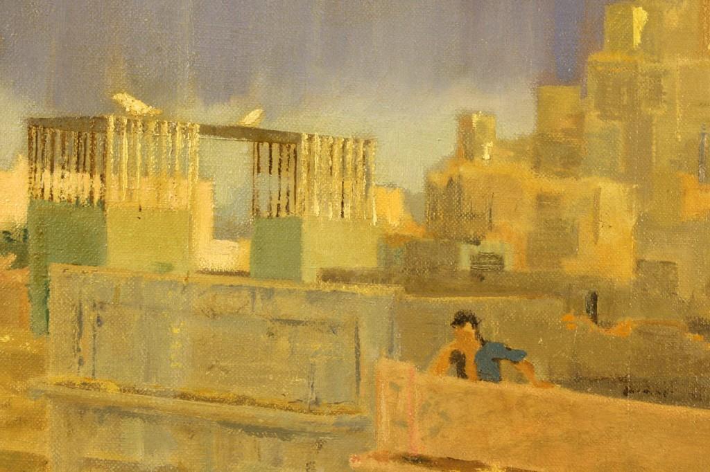 Lot 372: J. W. Rockefeller Street Scene, Oil on Canvas