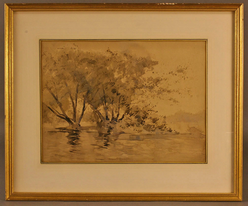 Lot 373: George M. Hammell watercolor landscape