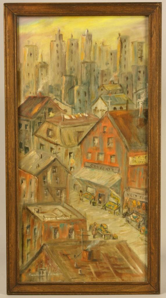 Lot 375: Caroline Jemison, Oil on Canvas Cityscape