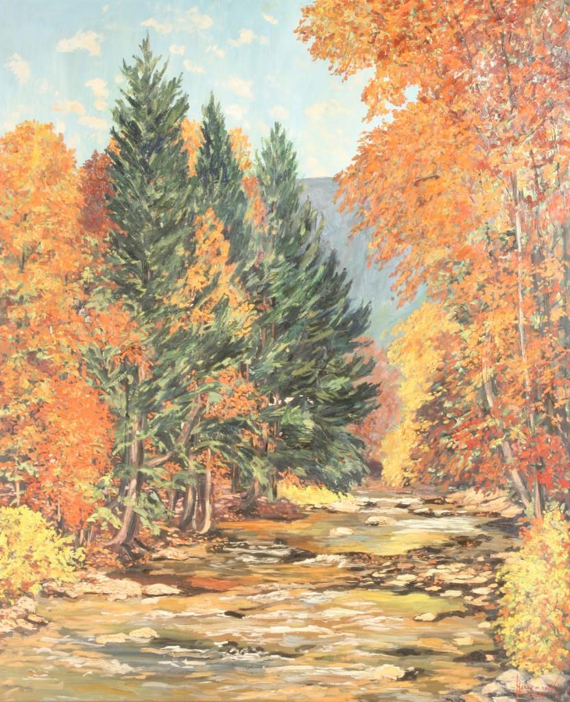 Lot 376: Harry Martin Book, oil on canvas, Autumn landscape