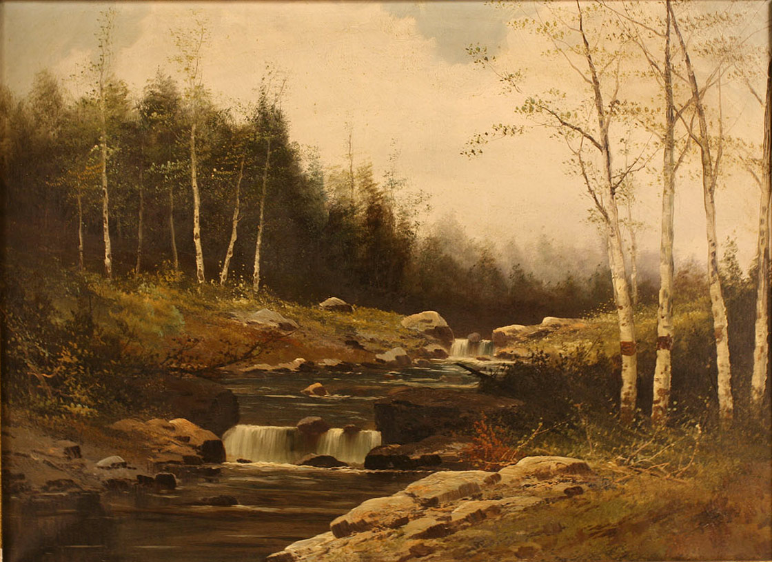 Lot 377: American School Landscape, oil on canvas